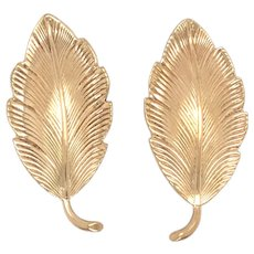 Retro 14K yellow Gold Leaf Earring.