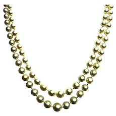 French 18k Yellow Gold Emerald, Diamond and Pearl Necklace.