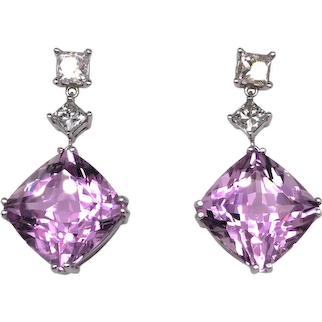 14K White Gold Kunzite and Diamond Earring.