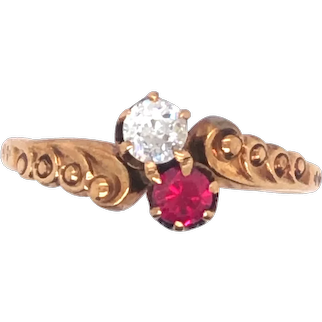 Antique 14K Yellow Gold Ruby and Diamond Ring.
