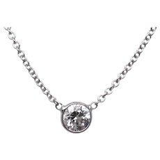 14K White Gold Diamond Pendant.