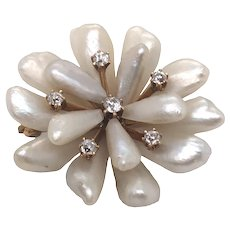 Antique 14K Yellow Gold Pearl and Diamond Brooch.