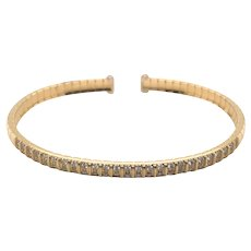 18K Yellow Gold Diamond Bangle Bracelet.