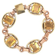 Retro 14K Rose and Yellow Gold Citrine Bracelet.