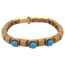 Antique 14K Yellow Gold Turquoise Bracelet.