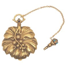 18K Yellow Gold French Art-Nouveau Pocket Watch.