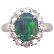 Platinum Black Opal Diamond Ring.