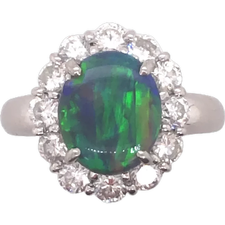 Platinum Black Opal Diamond Ring.
