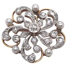 Antique Platinum over 14K Yellow Gold Diamond and Pearl Brooch.