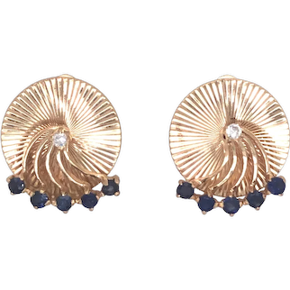 Cartier 14K Yellow Gold Sapphire and Diamond Earring.