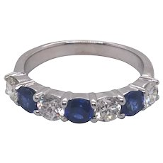 14k White Gold Sapphire and Diamond Band.