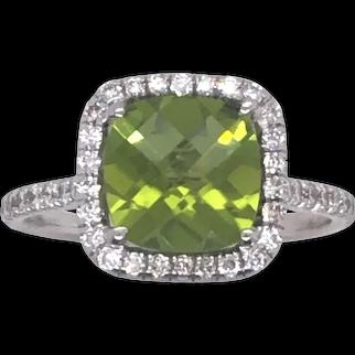 14K White Gold Peridot and Diamond Ring.