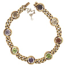 Antique 18K Yellow Gold Hexagonal Multi-Color Stone Bracelet.