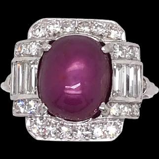 Art Deco Platinum Star-Ruby and Diamond Ring.