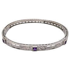 Art Deco 14K White Gold Amethyst Bangle.