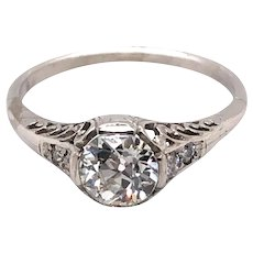 Art Deco Platinum Diamond Engagement Ring.