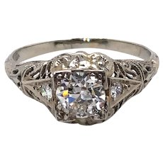 Art Deco 18K White Gold Diamond Engagement Ring.