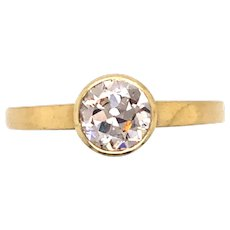 Antique 14K Yellow Gold Diamond Engagement Ring.