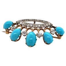 Antique 14k Yellow Gold and PlatinumTurquoise and Diamond Brooch.