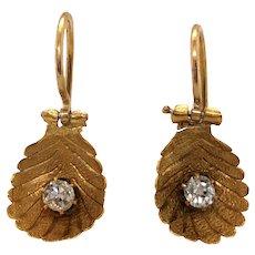 Antique 14K Yellow Gold Diamond Earring.