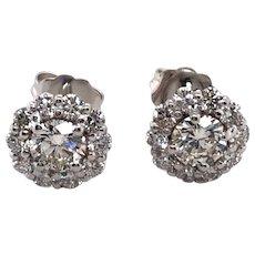 14K White Gold Diamond Earring.