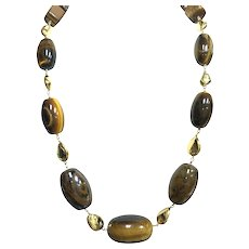 18K Yellow Gold Tiger's Eye Necklace.