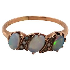 14k Yellow Gold Opal and Seed Pearl Ring.