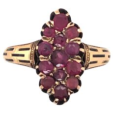Victorian 14K Yellow Gold Garnet Ring.