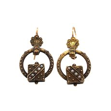 Victorian 14K Yellow Gold Enamel and Seed Pearl Earring.