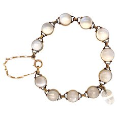 Antique 14K Yellow Gold Moonstone Bracelet.
