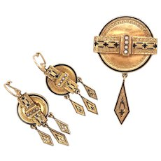 Victorian Enamel and Seed Pearl Earring & Brooch Set.