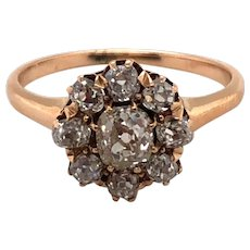 Antique 14K Yellow Gold Diamond Ring.