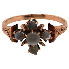 Victorian 14K Rose Gold Moonstone Ring.