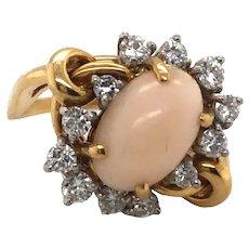 18K White & Yellow Gold Coral Diamond Ring.