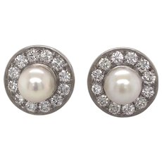 Platinum Pearl and Diamond Earring.