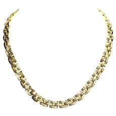 18K Yellow Gold Diamond Necklace.