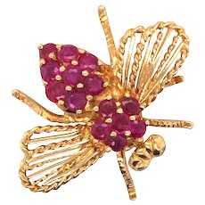 18K Yellow Gold Ruby Bee Brooch.
