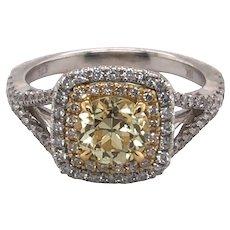 18K White and Yellow Gold Yellow Diamond Ring.
