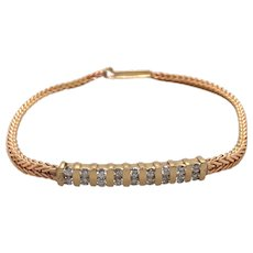 14K Yellow Gold Diamond Bracelet.