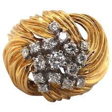 18K Yellow and White Gold Diamond Ring.