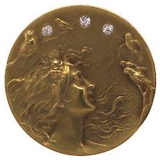 Art Nouveau 14K Yellow Gold Diamond Brooch.