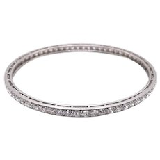 Tiffany & Co Art Deco Platinum Diamond Bangle Bracelet.