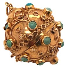 18K Yellow Gold Turquoise Ball Charm