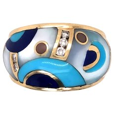 14K Yellow Gold Asch Grossbardt Inlaid Hard Stone and Diamond Ring.