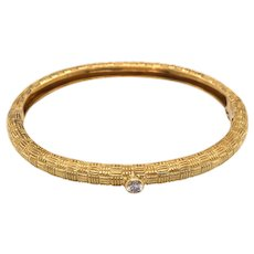 SBI Designer 18K Yellow Gold Diamond Bangle Bracelet
