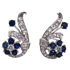 Mid-century Platinum and 14k White Gold Sapphire and Diamond Earring.