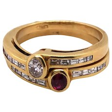 18K Yellow Gold Ruby and Diamond Twin Rings.