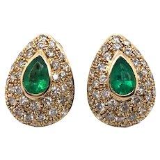 14K Yellow Gold Emerald and Diamond Earring.