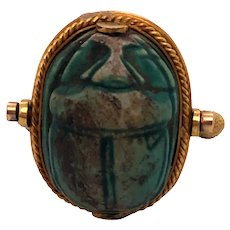 Antique Egyptian 22K Yellow Gold Scarab Ring.