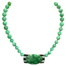 Art Deco Platinum and 18K Yellow Gold Jade, Onyx and Diamond Necklace